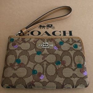 Authentic Coach Signature Khaki/Cherries Wristlet